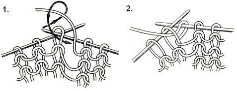 Вязание изнаночной петли первым способом.