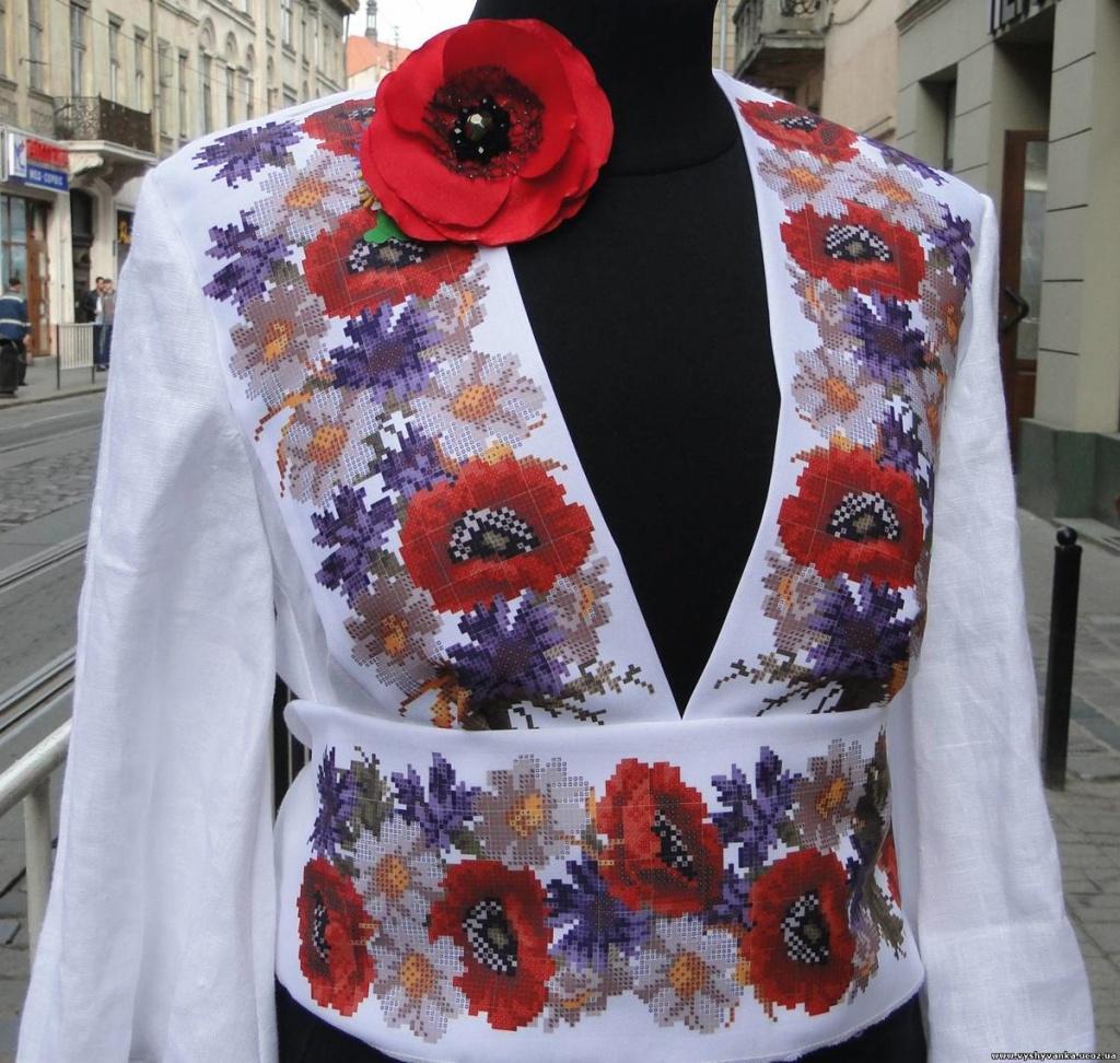 Вышивка цветов бисером на платье