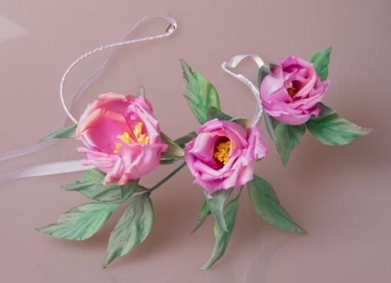 Цветы из ткани в японской технике2