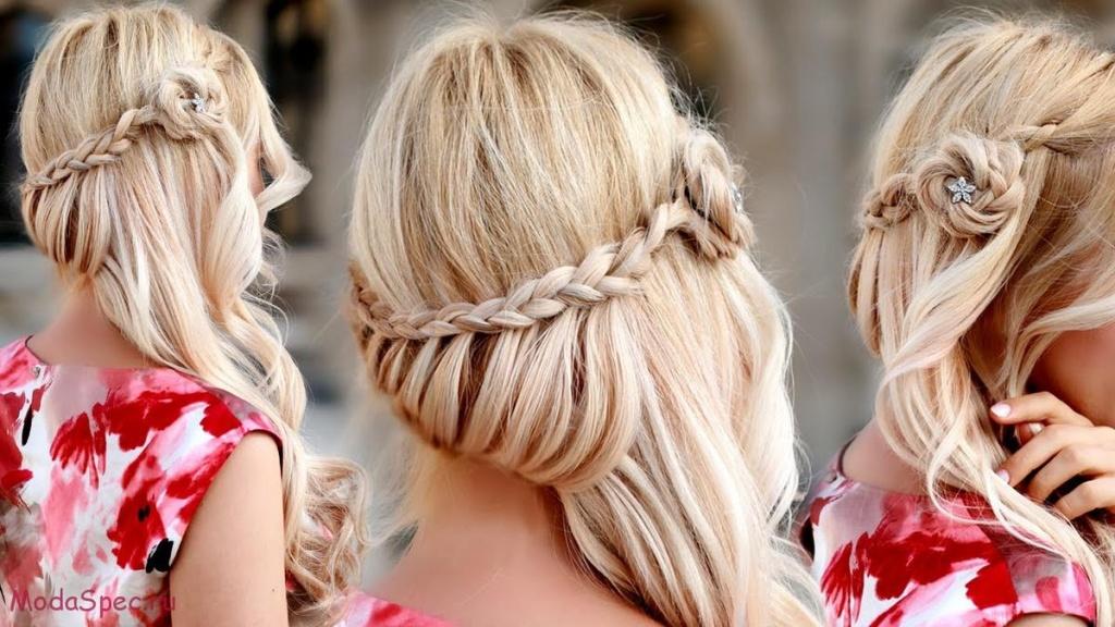 Праздничная прическа на длинные волосы с косами своими руками